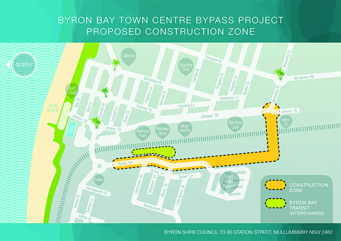 Map of Byron Bay town centre bypass project