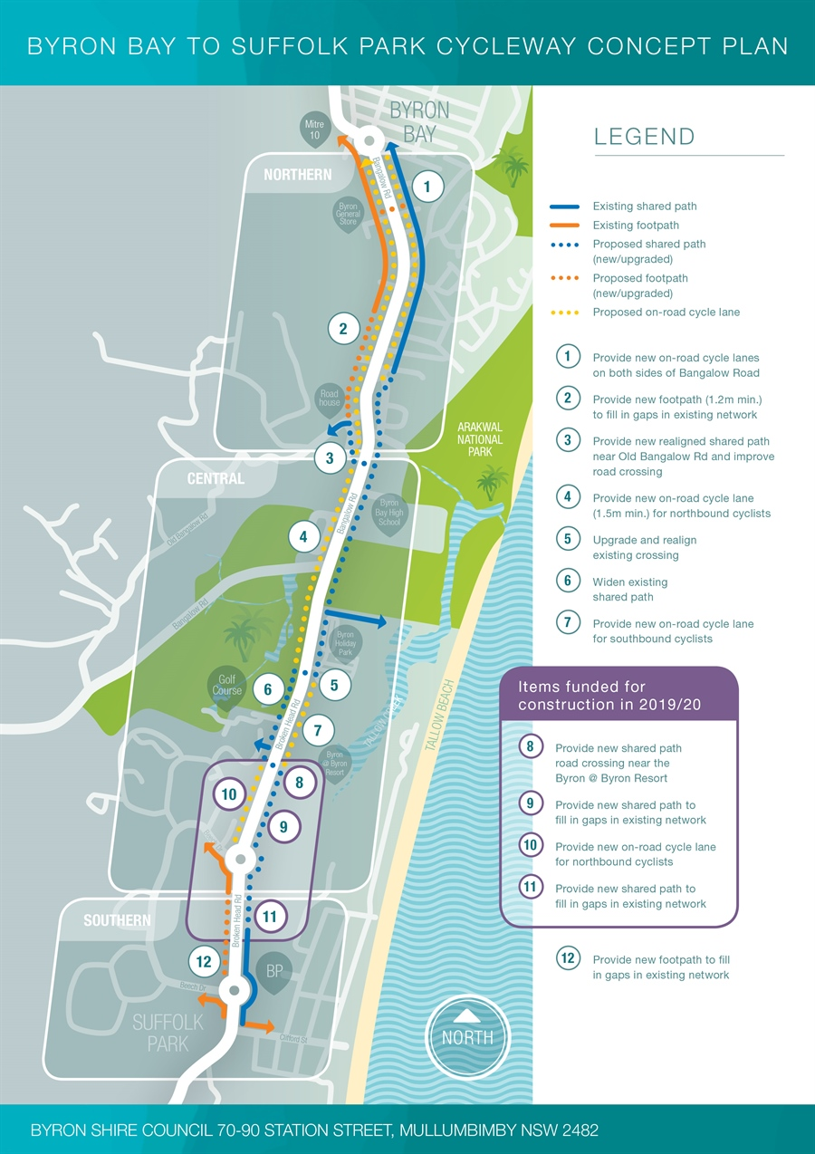 Suffolk Park to Byron Bay Cycleway map