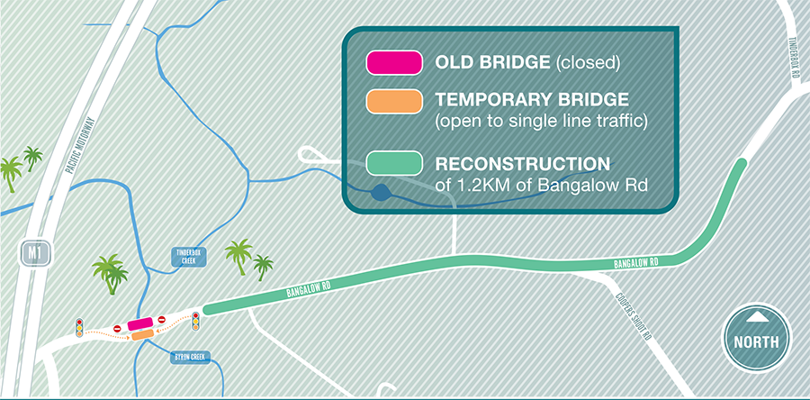Map highlighting the Bangalow Road and Byron Creek bridge works
