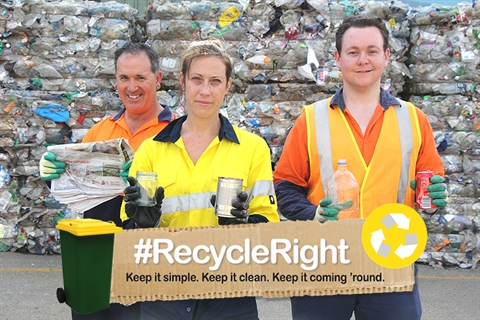 People demonstrating correct recycling practices