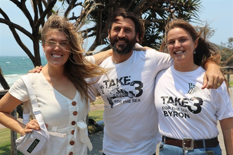 Images of three participants in the Take 3 for the sea waste campaign.
